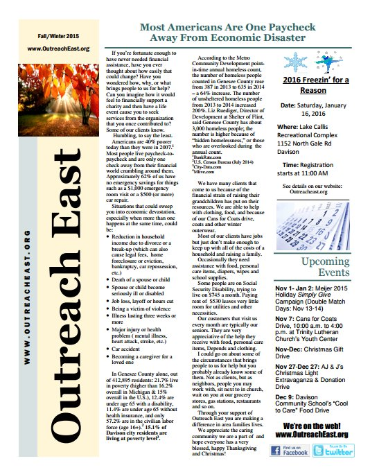 Outreach East Fall 2014 Newsletter